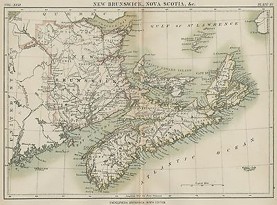 New Brunswick; Nova Scotia; PEI Canada: Authentic 1889 Map showing Town/Cities +