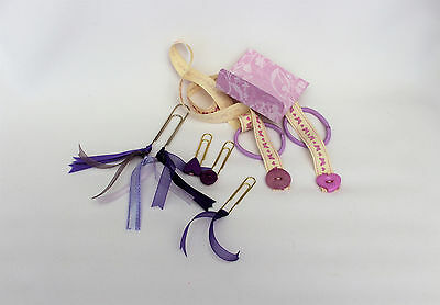 Planner accessory, tassel clips, bookmark set, MAUVE ribbon bookmarks