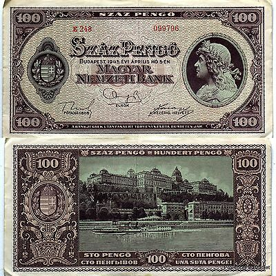 One ticket from bank HUNGARY circulated USE 100 Pengo 1945 WW2 Pick111