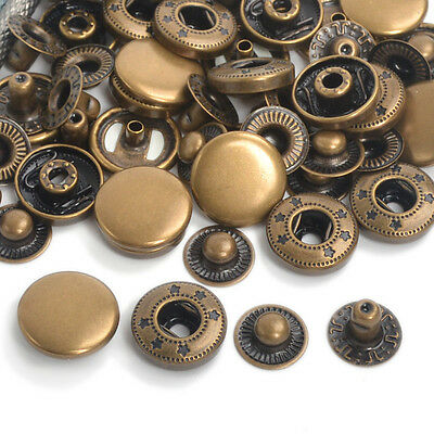 Antique Brass Poppers 10/12.5/15/17mm Snap Fasteners Press Studs Buttons Sewing