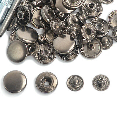 Gunmetal Black Poppers 10/12.5/15/17mm Snap Fasteners Press Studs Buttons Sewing