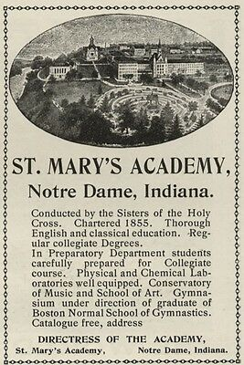 St. Mary's Academy  (Girl's School in Notre Dame Indiana) Oct. 1900 1/4 Page Ad