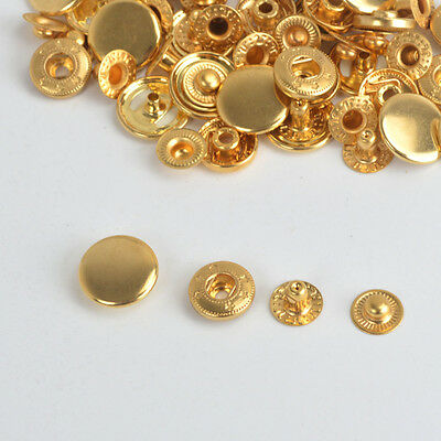 Gold Poppers 10/12.5/15/17mm Snap Fasteners Fastening Press Studs Sewing Buttons