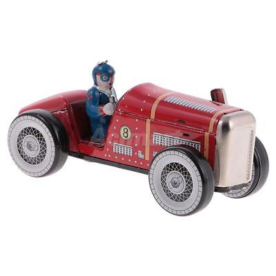 Vintage Windup Tinplate Racing Car Racer Model Clockwork Collectable Tin Toy