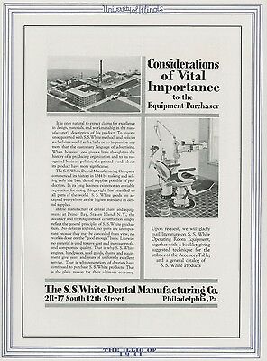 SS White Dental Supply Co.; Philadelphia  Authentic 1931 Full-Page Pictorial Ad