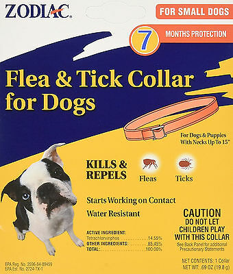 """Zodiac Flea & Tick Dog Collar For Small Dogs w/ Necks up to 15"""" 7 Months Protect"""