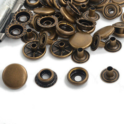 New Antique Brass Snap Fasteners Poppers 12.5/15/17mm Press Studs Buttons Sewing