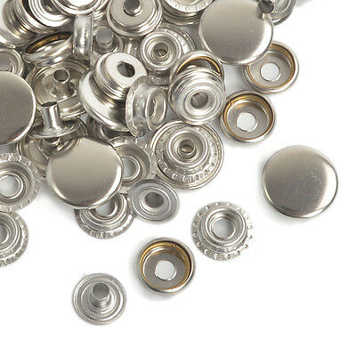 Silver Snap Fasteners Poppers 12.5/15/17mm Press Studs Sewing Leather Buttons