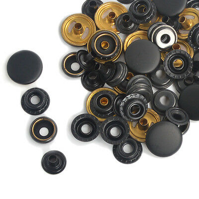 Black Snap Fasteners Poppers 12.5/15/17mm Press Studs Sewing Leather Buttons