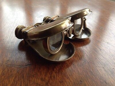 Vintage Folding Pocket Solid Brass Clamshell Binoculars - Steampunk Style