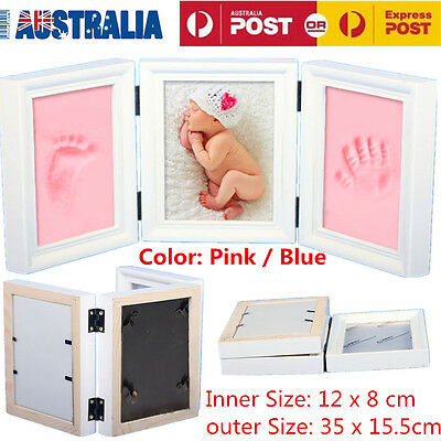 3D Baby Hand Foot Print Casting Kit With Shadow Box DIY Baby Shower Gift 2 Color