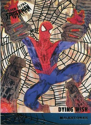 Spiderman Fleer Ultra 2017 Milestones Silver Web Chase Card M-11 Dying Wish
