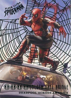 Spiderman Fleer Ultra 2017 Deadpool Across America Silver Web Chase Card DA1 Gol