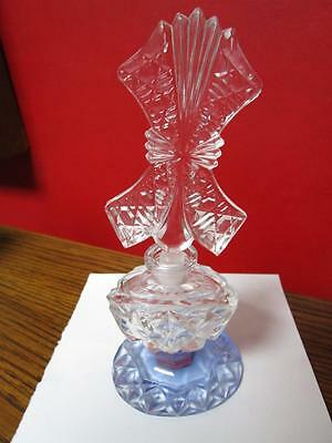 Pressed glass antique perfume bottle, clear and blue bottom [*]smalldec