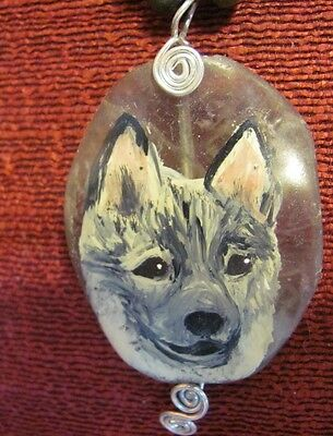 Norwegian Elkhound hand painted on freeform, wire wrapped gemstone pendant/bead/