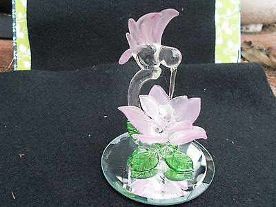 Glass hummingbird with flower figurine