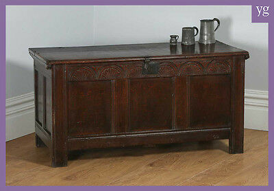 Antique Charles II English Home Counties Oak Joined Coffer Blanket Chest