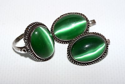 Awesome Soviet Set of Earrings Ring Silver 925 USSR Antique AMAZING!