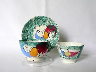 Antique Staffordshire? Sponge-ware Child's Tea Cup & Saucer Sugar Bowl