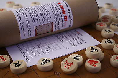 XIANG QI (CHINESE CHESS) SET WOODEN PIECES & ROLL-UP BOARD in TUBE