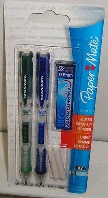 2 PAPER MATE Clear Point 0.5mm Mechanical Pencils, GREEN/BLUE BARRELS