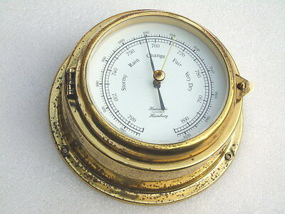 Vintage All Brass Hanseatic Hamburg Germany Ships Boat Yacht Weather Barometer