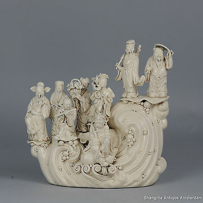 Marked Blanc de Chine Immortals on a Wave Statue China 20th c Porcelain Chinese