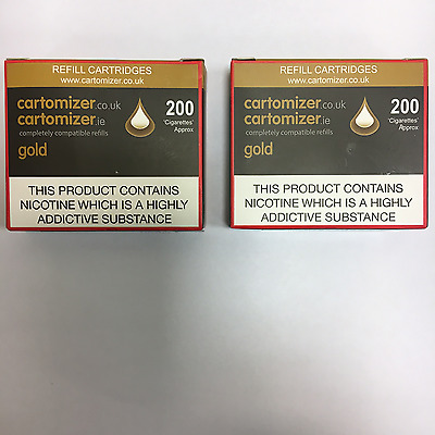 10 GOLD  FLAVOUR  CARTOMIZERS 18 Mg COMPATIBLE WITH VIP