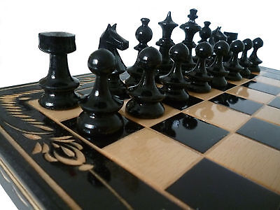 Hand Crafted Beech Wooden Chess And Backgammon Set 32 x 32 cm