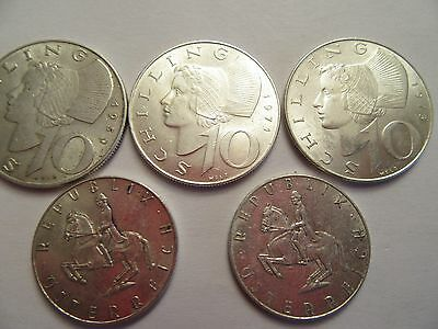 Lot of 5 Austria Silver Coins, 3 10 Schilling + 2 5 Schilling, mixed dates