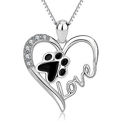 Sterling Silver CZ Cute Puppy Dog Paw Print Love Heart Pendant Necklace Jewelry