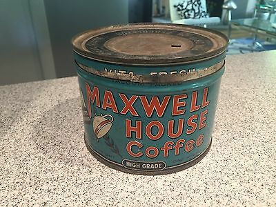Vintage Maxwell House Coffee Tin with Lid 1 Pound Size