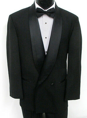 New with Tags Black After Six Double Breasted Satin Shawl Lapel Tuxedo Jacket