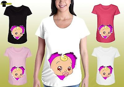 Funny Maternity Graphic Shirts Pregnancy Tee Cute Maternity Clothes Baby Face