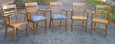 Set of Five 5 Quartersawn Oak Taylor Arm Chairs - Vintage - Bedford, Ohio Made