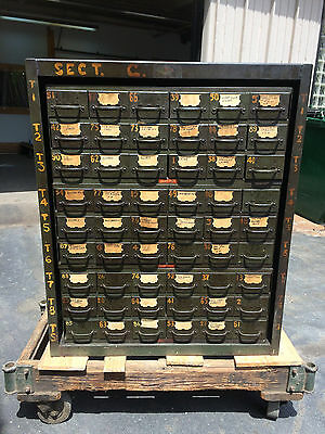 Vintage Industrial Cabinet 54 Drawer Organizer Factory Parts Chest Equipto