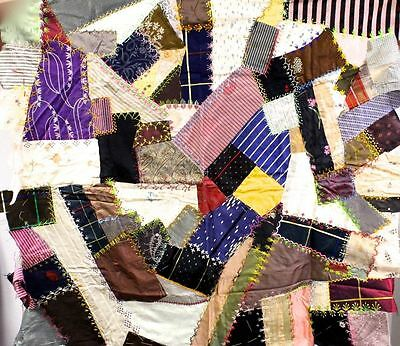 "Antique Crazy Quilt Panel 36"" sq Great early silk Prints, Outstanding Stitching"
