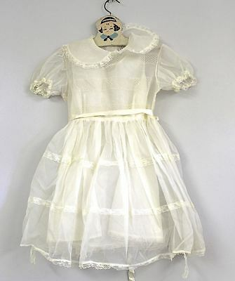 "VTG 1950's Sheer White Dotted Swiss  Nylon  Girl's Doll Dress up to 26"" Chest"