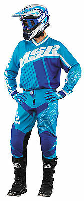 MSR Axxis Cyan/White/Royal Jersey & Pant Combo Set Motocross M17 Off Road Gear