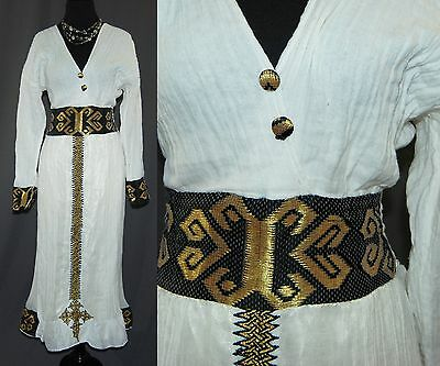 Ethiopian Traditional Dress Cream White Cotton Gauze Metallic Accents S M L