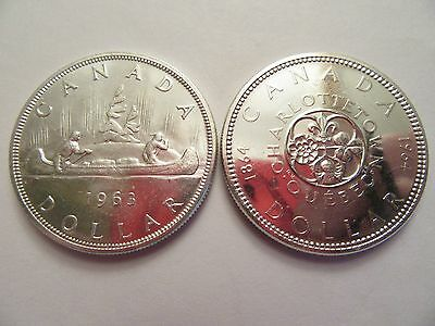 TWO Canada Dollars, 2 80% silver 1963 & 1964 good details!