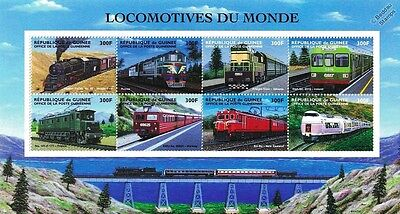 Locomotives of the World / Railway Train Stamp Sheet #1 (2002 Guinea)