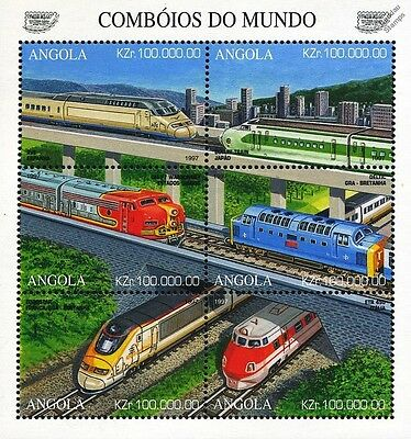 Modern Locomotives of the World / Railway Train Stamp Sheet (1997 Angola)