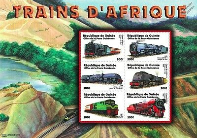 Trains of Africa / Railway Locomotives Stamp Sheet (2002 Guinea)