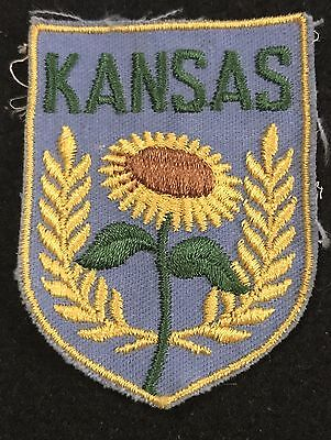 KANSAS Vintage Patch State  Souvenir Travel VOYAGER Embroidered Sunflower