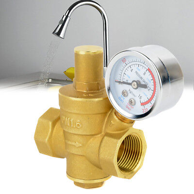 "3/4"" DN20 PN 1.6 Adjustable Brass Water Pressure Reducing Valve + Pressure Gauge"