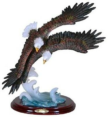 Two Eagles Flying on Blue Water Bird Statue / Animal Resin Figurine - RAI 94055