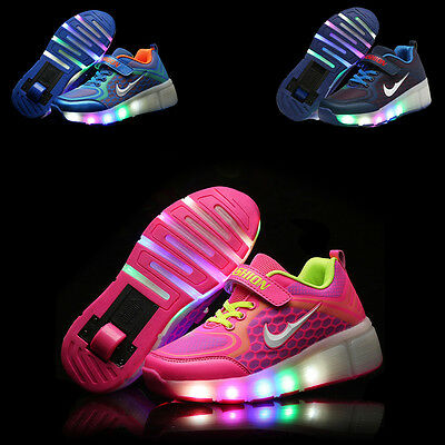 2017 FASHION Kids LED Light Wheels Retractable Roller Skate Shoes Youth Sneakers