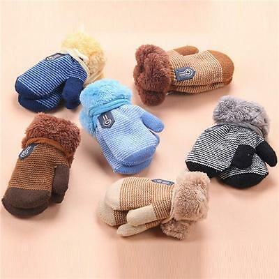 Girls Boys Newborn Baby Kids Winter Warmer Gloves Stretchy Knitted Mittens JJ