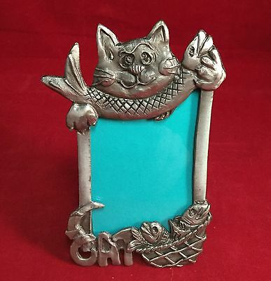 Vintage Metal Cartoon Cat Holding Fish Basket Pewter Marked 1997 Picture Frame